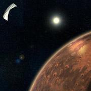 Орбитальное зеркало может сильно нагреть километровый участок поверхности Марса (иллюстрация Rigel Woida).