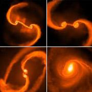 Некоторые этапы слияния галактик со сверхмассивными чёрными дырами в ядрах (иллюстрация Stanford University).