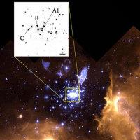 """В центре этого звездного скопления находится пара звезд, обозначенных как A1, каждая из которых по своей массе превосходит любую другую звезду, для которой есть надежная оценка массы. Изображение: HST (космический телескоп """"Хаббл"""") с сайта New Scientist"""