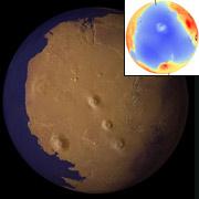 Океаны Марса исчезли, по крайней мере, 2 миллиарда лет назад, полагают калифорнийские планетологи. Здесь показана реконструкция береговой линии (иллюстрации Taylor Perron/UC Berkeley).