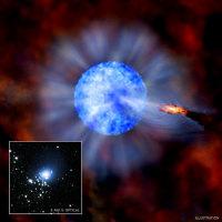 Черная дыра M33 X-7. Оптический, рентгеновский диапазоны и фантазия художника. Иллюстрация NASA/CXC/M.Weiss; X-ray: NASA/CXC/CfA/P.Plucinsky et al.; Optical: NASA/STScI/SDSU/J.Orosz et al.