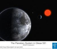 Планетная система у звезды Gliese 581 (в представлении художника). На переднем плане — планета Gliese 581d. Изображение: ESO