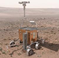 Среди прочих задач европейский марсоход должен пробурить скважину на глубину 2 метра в поисках льда, возможно, богатого микроорганизмами. Общий вес научного оборудования на этом аппарате может составить без малого полсотни килограммов (иллюстрация ESA).