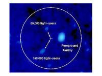 Окрестности источника странного гамма-всплеска на небесной сфере (изображение обсерватории КЕК, Sky and Telescope). Источник отмечен крестиком, две галактики, которые теоретически могли бы быть соединены перемычкой из звезд, показаны стрелками