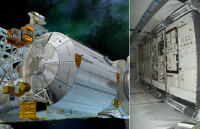 Columbus на МКС. Справа: интерьер лаборатории (иллюстрация ESA/D.Ducros, фото ESA).