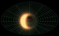 Так выглядело бы облако горячего газа близ чёрной дыры, если бы мы могли наблюдать его визуально. Зелёная сетка показывает искажённое огромной гравитацией пространство. На этой компьютерной симуляции точка зрения наблюдателя на 30 градусов поднимается над плоскостью экватора чёрной дыры (иллюстрация Avery Broderick/CITA, Avi Loeb/CfA).