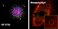 Целая планетная система HR8799 и пылевой диск Фомальгаута, в котором также видна планета. // National Research Council Canada / NASA/ESA/P.Kalas/UC Berkeley