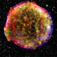 Композитное изображение остатка сверхновой Тихо Браге, полученной в разных электромагнитных диапазонах // Институт астрономии Общества имени Макса Планка