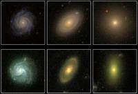 На этих снимках изображены различные типы галактик (для сравнения показан переход спиральные – промежуточные –эллиптические). Данные наблюдений Galaxy Zoo вверху, STAGES — внизу (иллюстрация STAGES/HUBBLE/COMBO-17/SDSS).