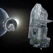 Herschel и Planck летят к месту своей работы (иллюстрация ESA).