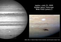 Изображение темной бреши в атмосфере Юпитера, полученное \