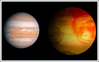 Сравнение размеров Юпитера (слева) и HAT-P-7b.
