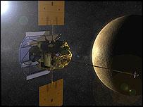 """Так будет выглядеть """"Мессенджер"""" на орбите Меркурия в представлении художника"""