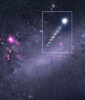 Звезда, «извергнутая» из Большого Магелланова облака (в представлении художника). Изображение с сайта www.eso.org