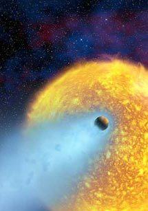 """Так художник представляет себе полет теряющей атмосферу планеты - """"горячего Юпитера"""" HD 209458b. Изображение с сайта www.spaceflightnow.com"""