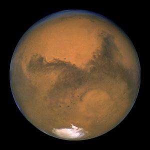 Марс во время Великого противостояния (когда он находится вблизи перигелия) 2003 года. Фото телескопа «Хаббл». Изображение с сайта www.universetoday.com