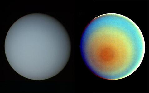 Уран в естественных и искусственных цветах. Снимок космического аппарата Voyager (фото NASA/JPL-Caltech).