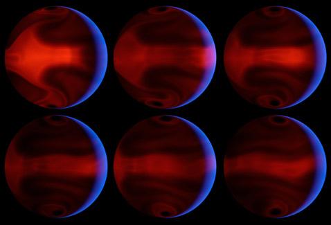 Компьютерное моделирование процессов, происходящих при смене сезонов на HD 80606b. В качестве исходных данных были взяты параметры, измеренные в ходе наблюдений за затмением этой планеты своим родным солнцем (иллюстрация NASA/JPL-Caltech/J. Langton, UCSC).